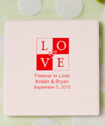 Silkscreened  Bisque Style Ivory Ceramic Tile Coaster personalized directly  on the coaster