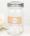 16 Ounce Personalized Glass Mason jar with silver metal screw top