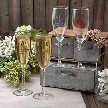 Champagne flutes from Fashioncraft's Silkscreened Monogram Collection