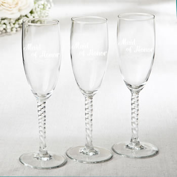 Elegant Champagne Flutes - Maid Of Honor Design