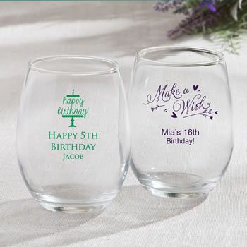 Personalized 15oz Stemless Wine Glasses – birthday design