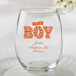 Personalized 15oz Stemless Wine Glasses – marquee design