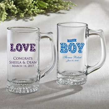 Personalized Glass Beer Mug 12.25 oz From Fashioncraft - marquee design