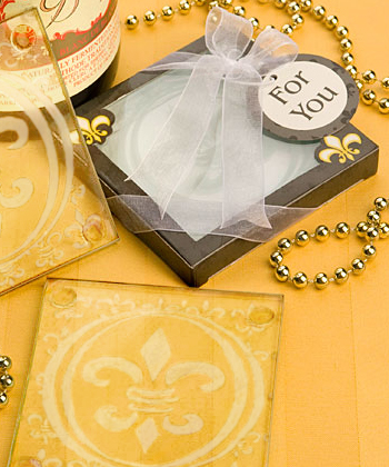 Fleur De Lis Design Glass Coaster  Set Favors