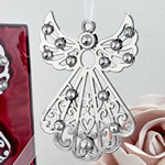 Silver angel ornament with stones