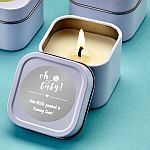 Personalized Metallic scented travel  Candle Tin