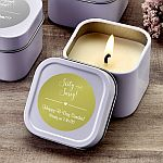 Personalized Metallic White Square Candle Tin