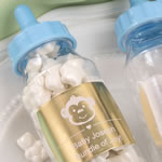 Personalized metallics collection Clear baby bottle with blue screw on top
