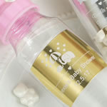 Personalized metallics collection Clear baby bottle with pink screw on top