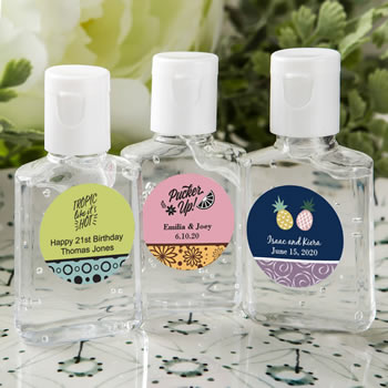 personalized expressions hand sanitizer favors - tropical design
