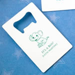 White  Personalized Credit Card  Stainless Steel Bottle Opener