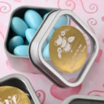 <em>Personalized Metallic Collection</em> Clear Top Mint Tin Favors