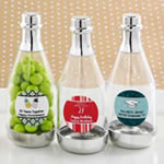 Personalized expressions silver accented clear champagne bottle container