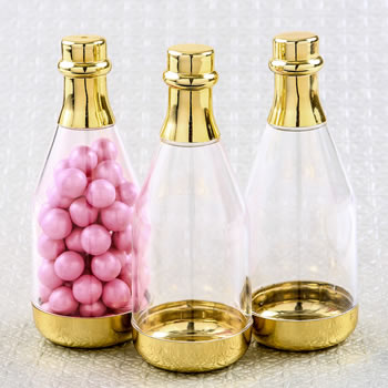 Perfectly plain gold accented clear champagne bottle container