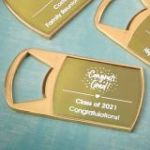 Personalized metallic collection epoxy dome gold metal bottle opener