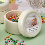 Personalized Ceramic mint jar with epoxy dome