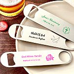 Design your own collection screen printed stainless steel bartenders bottle opener