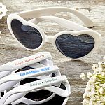 Design your own direct screen print Heart Shaped white Sunglasses