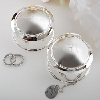 Engraved Glorious Silver round Hinged jewel box from gifts by fashioncraft