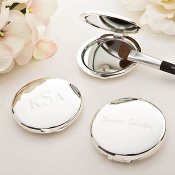 Engraved Silver plated Round Compact Mirror