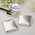Engraved Silver plated square Compact Mirror