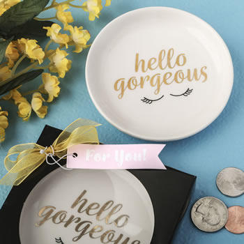 Hello Gorgeous white ceramic jewelry / change dish