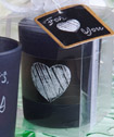 Blackboard  design candle favors white chalk included
