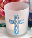 <em>Bling  Collection</em> cross candle favors - Boy