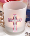 <em>Bling Collection</em> cross  candle favors - Girl