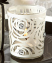 White-rose candle holder favors