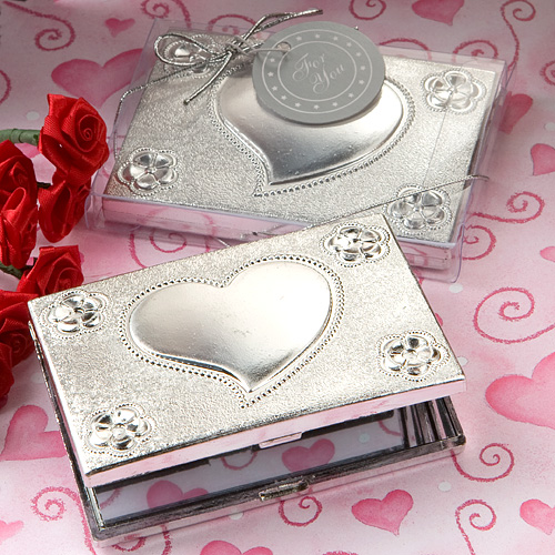 Heart Design Cosmetic Make-up Compact Mirror Wedding Party Favor Gift