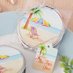 Beach design silver metal compact mirror with epoxy top from Fashioncraft