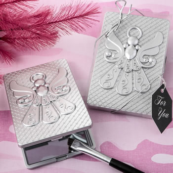 Angel themed silver compact mirror