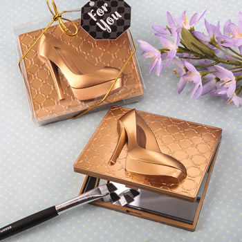 Gold high heel shoe design compact mirror