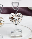 <em>Murano Glass Collection</em> white heart  design place card holders