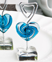 <em>Murano Glass Collection</em> blue heart  design place card holders