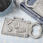 silver suitcase metal bottle opener
