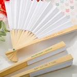 personalized elegant white paper folding fan from fashioncraft