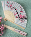 Delicate Cherry Blossom Design Silk Folding Fan Favors