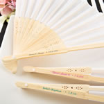 personalized white silk folding fan from Fashioncraft®