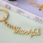 Gold THANKFUL metal key chain from fashioncraft