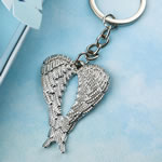 Silver Guardian Angel wings metal key chain