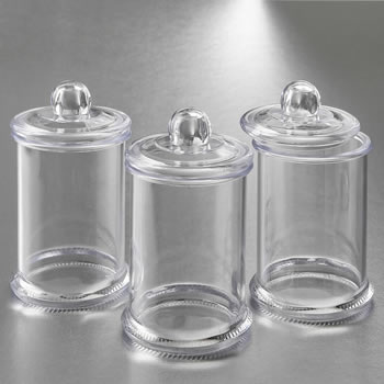 Perfectly plain clear acrylic apothecary jar with lid