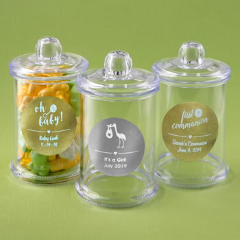 Personalized metallic collection clear acrylic apothecary jar with lid