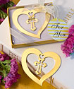 <em>Book Lovers Collection</em> Heart And Cross Design Bookmark Favors