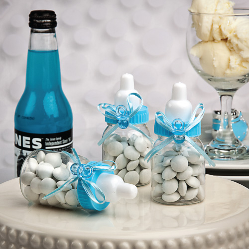 Perfectly Plain Collection Blue Baby Bottle Favors from HotRef