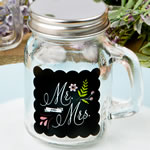 Sayings collection Mr & Mrs design glass mason jar