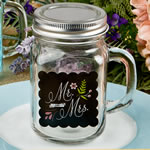 Sayings collection 'Mr & Mrs'  12 oz glass mason jar with handle