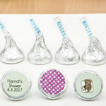 Personalized  Chocolate Hershey's® Kisses® set of three labels on a silver foiled wrapper