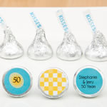 Personalized Chocolate Hershey's® Kisses®set of three labels on  silver foiled wrapper